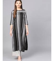 Women Black Geometric straight Yarn Dyed Rayon Kurta