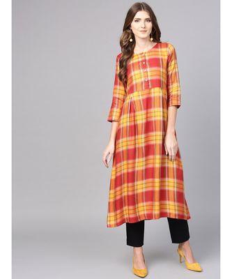 Women Red Geometric A-Line Yarn Dyed Rayon Dress