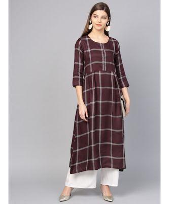 Women Brown Geometric A-Line Yarn Dyed Rayon Dress