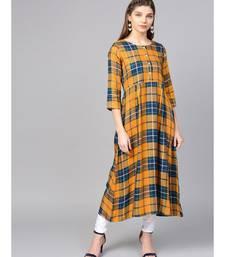 Women Mustard Geometric A-Line Yarn Dyed Rayon Dress