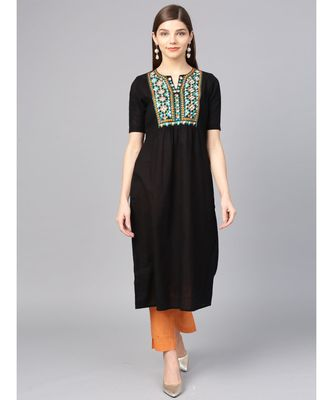 Women Black Embroidred A-Line Cotton Slub Kurta