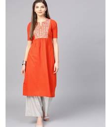 Women Orange Embroidred A-Line Cotton Slub Kurta