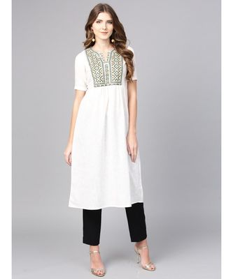 Women White Embroidred A-Line Cotton Slub Kurta