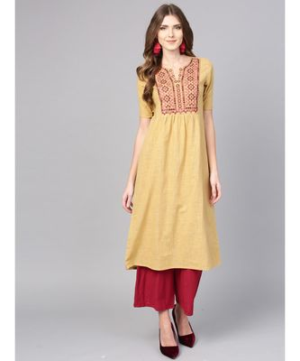 Women Beige Embroidred A-Line Cotton Slub Kurta