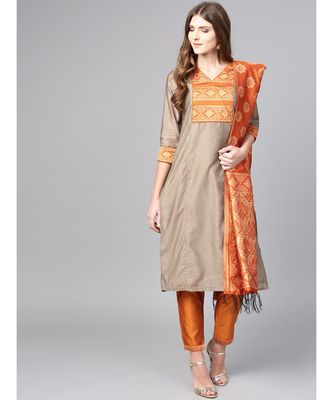 Women Beige & Mustered Solid Straight Chanderi Kurta With Pant brocade Dupatta