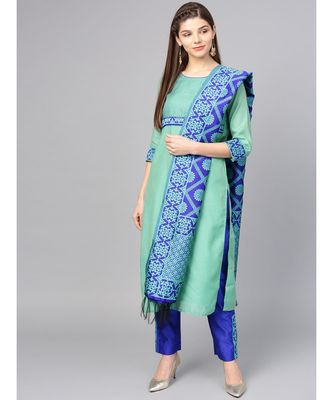 Women Green & Blue Solid Straight Chanderi Kurta With Pant brocade Dupatta