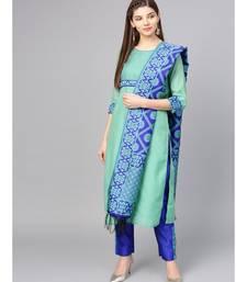 Women Green & Blue Solid Straight Chanderi Kurta With Pant brocade Dupatta