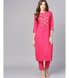 Women Pink Solid Straight Rayon Kurta With Pant