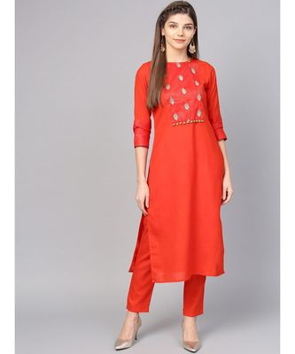 Women Red Solid Straight Rayon Kurta With Pant