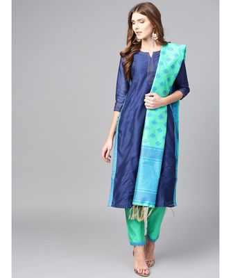 Women Blue & Green Solid Straight Chanderi Kurta With Pant brocade Dupatta