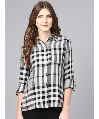 Grey Checks Straight Yarn Dyed Rayon Shirt