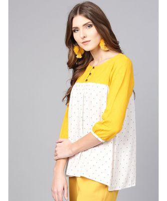 Women white a-line Rayon & cotton slub Top