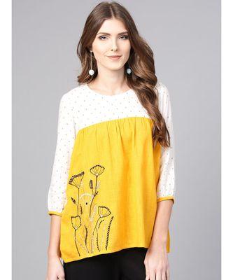 Women yellow a-line Rayon & cotton slub Top