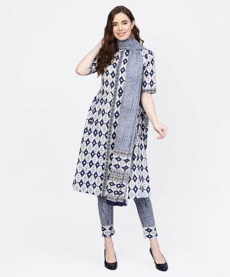 Women Navy Blue Geometric A-Line Cotton Kurta With Pant And Dupatta