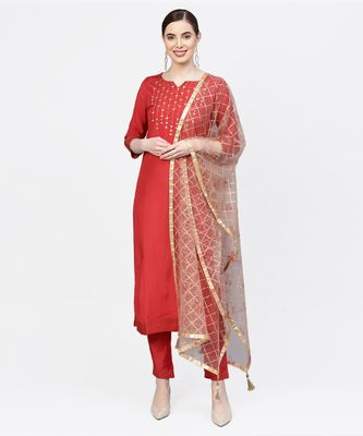 Women Red And Brown Embroidered Straight Viscose Musline Kurta With Pant And Net Dupatta