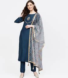 Women Teal And Light Blue Embroidered Viscose Musline Kurta With Pant And Net Dupatta
