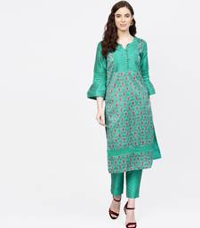 Women Green Embroidered Straight Chandery Kurta With Pant