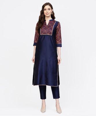 Women Navy Blue Ethnic Motifs Straight Chandery Kurta With Pant