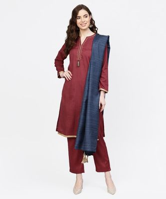 Women Maroon And Navy Blue Embroidered Straight Handloom Kurta With Pant And Dupatta