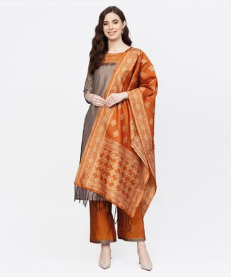 Women Beige And Mustered Solid Straight Chanderi Kurta With Palazzo And Dupatta