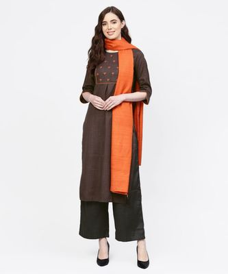 Women Dark Grey And Orange Embroidered Straight Handloom Kurta With Palazzo And Dupatta