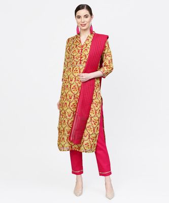 Women Yellow And Rani Ethnic Motifs Chandery And Cotton Slub Kurta With Pant And Dupatta