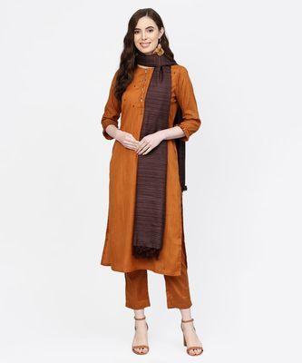 Women Mustard Embroidered Straight Handloom Kurta With Pant And Dupatta