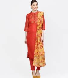 Women Rust Embroidered Straight Chandery Kurta With Pant And Dupatta
