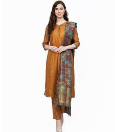 Women Brown Embroidered Straight Chandery Kurta With Pant And Dupatta