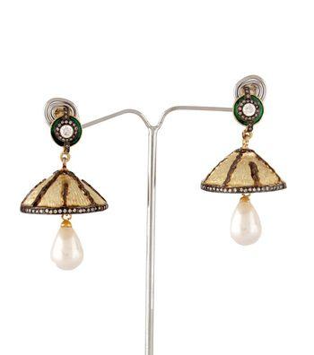 Sihiri  Pearl Drop Jhoomar Earrings