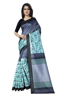 Light Green Printed Art Silk Saree With Blouse