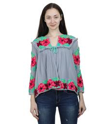 Blue Embroidered Blended Cotton Long Top