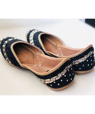 Black Gold embellished sequinned wedding shoes, Beaded Bridal footwear