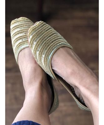 Gold Sequin Women Party Shoes, Gold Bridal Women Jutti, Indian Ethnic Shoes