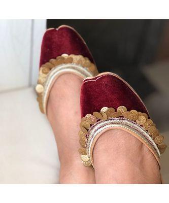 Embellished Wine Colour Emerald Bridal Shoes, Indian Ethnic Women Wedding Jutti