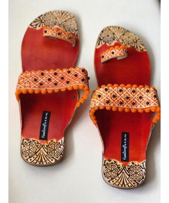 Boho Sandals, Orange Kolhapuri Chappals, Leather Sandals Women, Wedding Sandals