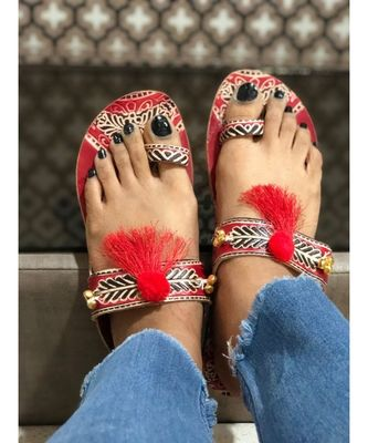 Red Beaded Kolhapuri Chappals, Embossed Boho Style Slippers, Sandals for Women