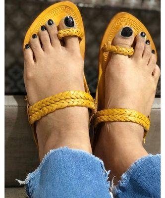 Woven Mules, Kolhapuri Leather Indian Women Shoes, Light Brown Women's Flats