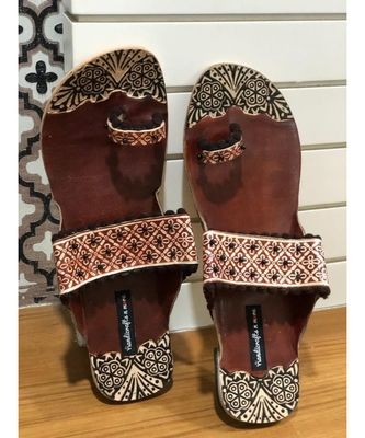 Brown Beaded Kolhapuri Chappals, Embossed Boho Style Slippers, Sandals for Women