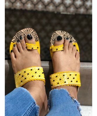 Yellow and Brown Beaded Kolhapuri Chappals, Embossed Boho Style Slippers, Sandal