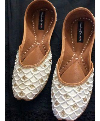 White Embellished Wedding Shoes,White Beaded Bridal Footwear,Ethnic Indian Shoes
