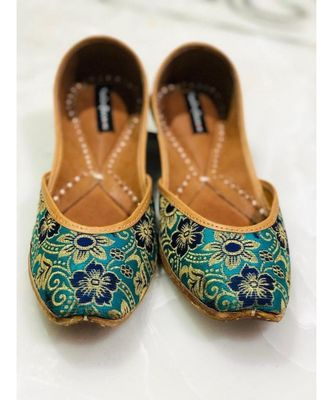 Bridal Shoe, Green Floral Printed Shoes, Women Punjabi Jutti,Indian Ethnic Shoes