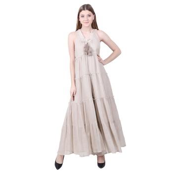 Beige Plain Linen Maxi Dress