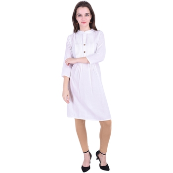 White plain cotton ethnic-kurtis