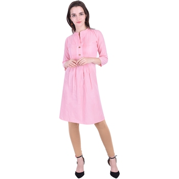 Light-pink plain cotton ethnic-kurtis
