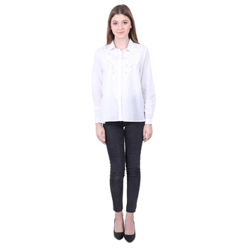 White Embroidered Cotton Top