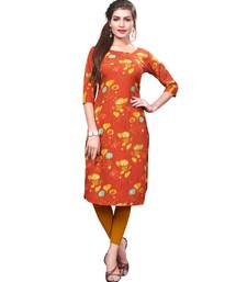 Orange color Printed American Crepe Straight Kurti