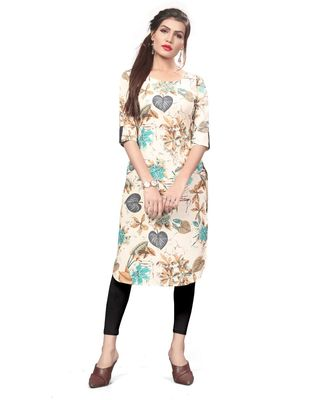 Off-white color Printed American Crepe Straight Kurti