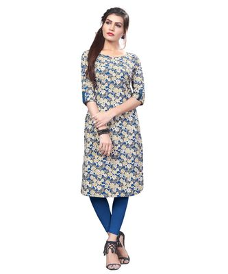 Multi-color Printed American Crepe Straight Kurti