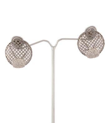 Sihiri Black Circle Mesh Earrings